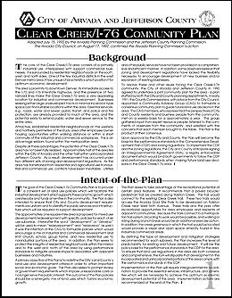Clear Creek/ I-76 Area Plan cover