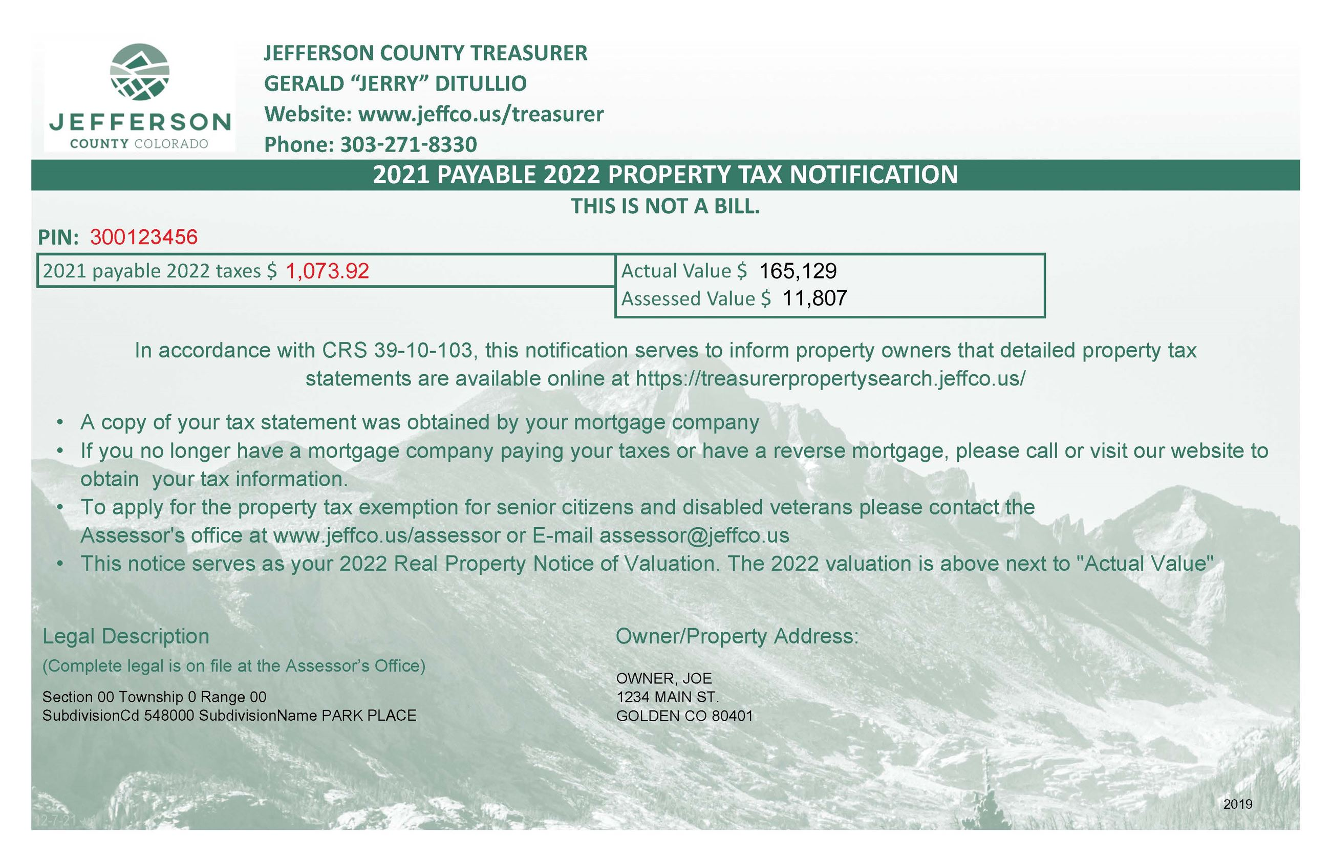 Sample of Property Tax Postcard