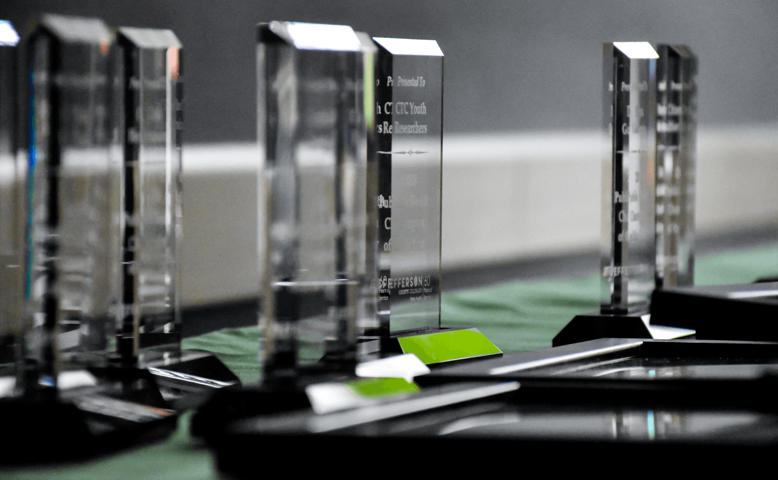 A row of awards for the 2018 Public Health Champions