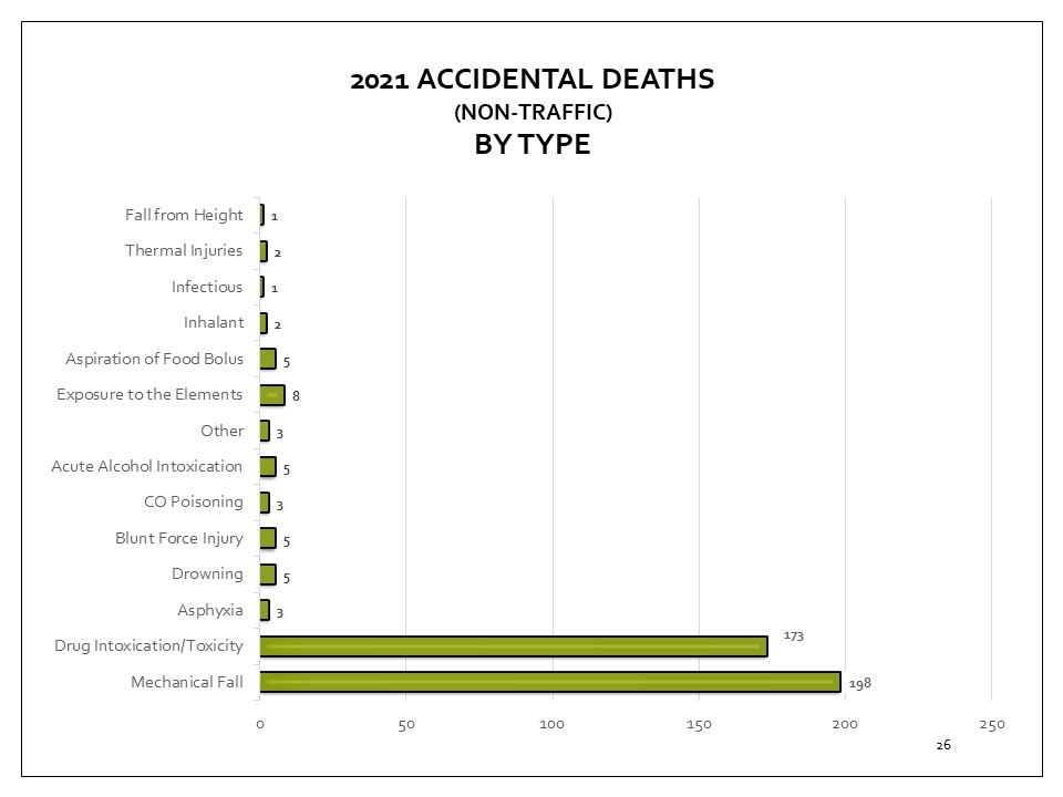Coroner's accidental deaths cases, by type for 2018