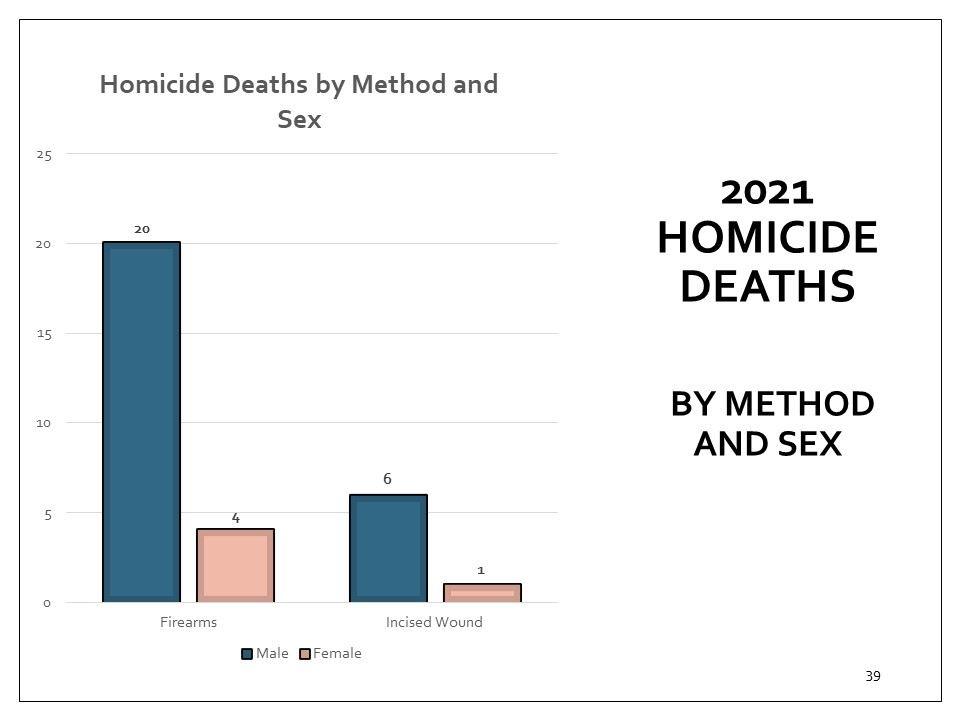 Coroner's homicide deaths cases, by method and sex