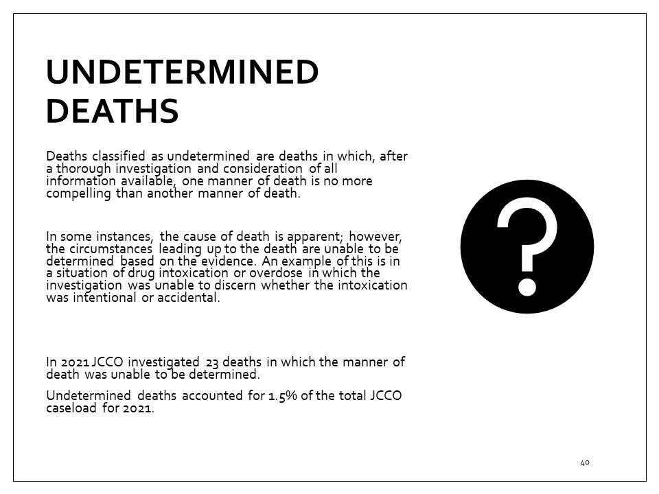 Coroner's undetermined deaths cases, overview