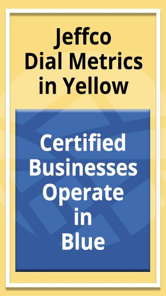 Five-Star Certification - Jeffco in Yellow, business in Blue