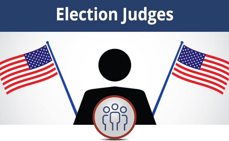 clickable image of a person and flag icons. Select image to go election Judge web page on jeffco.us